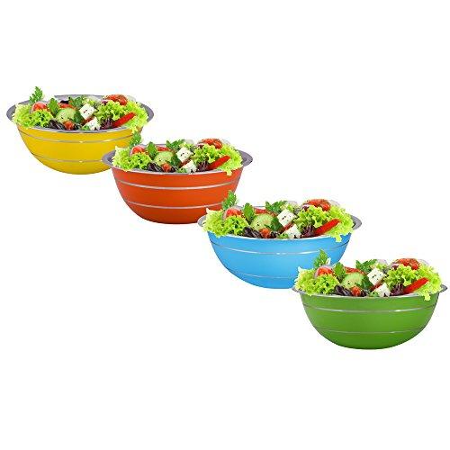 Kosma – Set di 3 ciotole per insalata in acciaio INOX, insalatiera, esterno in colore giallo e finitura a specchio interna
