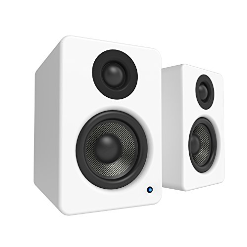 """Kanto 2 Channel Powered PC Gaming Desktop Speakers – 3"""" Composite Drivers 3/4"""" Silk Dome Tweeter – Class D Amplifier - 100 Watts - Built-in USB DAC - Subwoofer Output - YU2MW (Matte White)"""