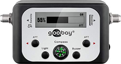 Goobay Digitaler Satelliten Finder LCD-Anzeige mit Kompass und Ton inkl. F-Anschlusskabel, 67140-GB, Schwarz