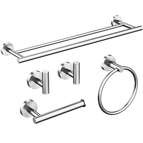 USHOWER 5 Piece Brushed Nickel Bathroom Hardware Set, Modern Style Bathroom Accessories Kit, Includes 24 Inch Double Towel Bar