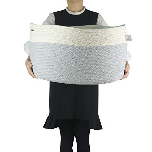 Iceblue XXXL Jumbo Toy Storage Cotton Rope Basket Hamper with Build-in Handles£¨23.6X17.7X13.8in)