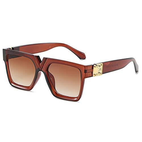 Gafas de Sol Gafas De Sol para Mujer con Montura Rectangular, Diseñador De Marca Transparente, Gafas De Sol Retro, Unisex, Cuadrado, Marrón, Negro, Lente Uv400 C6Darkbrown