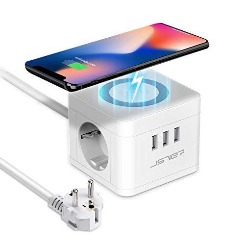 JSVER Regleta Enchufe USB Cube con Cargador Wireless (10W) 3 Puertos de USB y 2 Tomas Regleta Alargador para iPhone Samsung iPad Tablets - Cable 1.5 m - Blanco