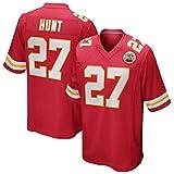 LAVATA T-Shirt pour Hommes NFL Football Jersey Kansas City Chiefs 27# Kareem Hunt Maillot De Sport De Football Américain T-Shirt Sport Classique à Manches Courtes