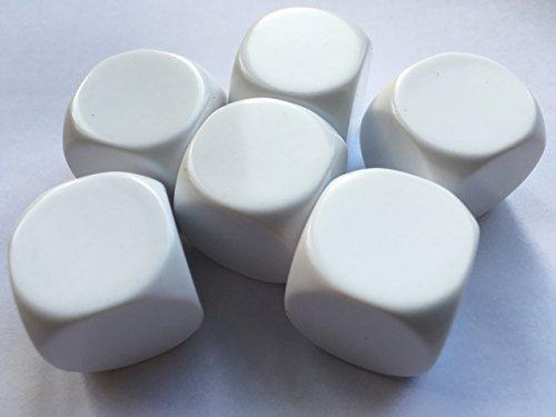 Groß Blanko Würfel 22mm mehrfach beschreibbar Weiß (Pk von 6)