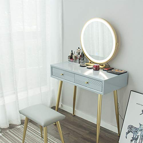 YOURLITE Vanity Table Set with 3 Modes Adjustable Brightness Mirror and Cushioned Stool, Dressing Table Vanity Makeup Table with Extra Free Small Makeup Mirror
