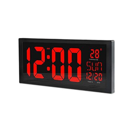 Reloj de pared LED de gran tamaño, con el termómetro digital inteligente Calendario de alarma del temporizador de cuenta atrás Hangable Mute for el hogar escuela de la oficina comercial Hospital El me