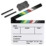 Zacro Acrylic Film Clapboard -12 x 10in Plastic Film Clapboard Cut Action Scene Clapper Board with a Magnetic Blackboard Eraser and Two Custom Pens
