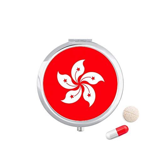 DIYthinker China Hong Kong regionale vlag Travel Pocket Pill Case Medicine Drug Opbergdoos Dispenser Spiegel Gift