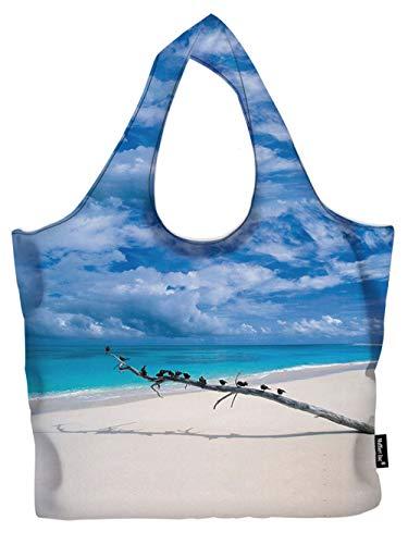 Wasserbeständige, faltbare Einkaufstasche, wiederverwendbar, leicht, umweltfreundlich, Strandblick