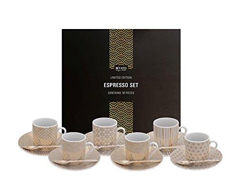Tokyo Design Studio, Nippon Limited Edition gold, Expresso Set in dekorativer Geschenkbox, Porzellan Geschirr, 18 - teilig, 6 Personen.