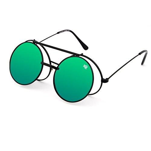 Kiss Lunettes de soleil MyRetro PREMIUM mod. PICCADILLY - homme femme FLIP-UP rond vintage STEAMPUNK - NOIR/Vert