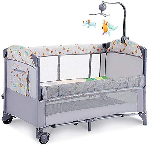 angelHJQ Cuna de viaje multifuncional portátil plegable, para llevar mosquitero, colchón, bolsa de almacenamiento, altura ajustable de la cama, adecuado para 0-48 meses, 125 x 73 x 77 cm