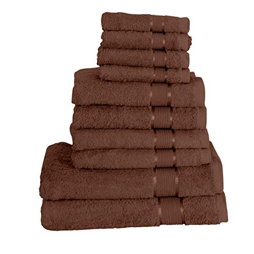 Mixibaby 10 TLG. Handtuchset 2X Duschtuch 4X Handtuch 4X Gästetuch, Farbe:Dunkelbraun