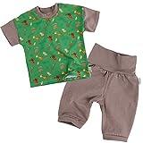 "Lilakind"" 2-teiliges Baby Set Hose Pumphose Babyhose Shirt Kurzarm Tiere Taupe Grün Gr. 86/92 - Made in Germany"