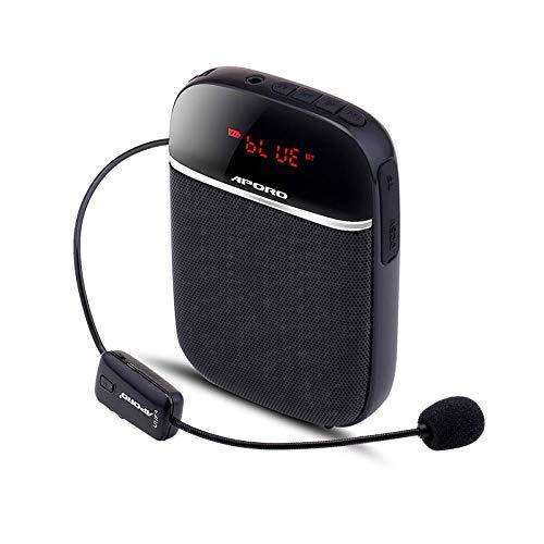 APROTII Amplificador de Voz, Mini Altavoz Portátil UHF Bluetooth 4,2 Radio FM con Auriculares Ligeros Micrófono Inalámbrico