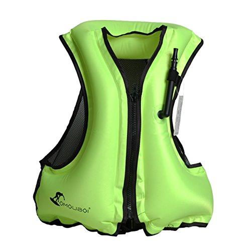 OMOUBOI Adulto Flotador inflable portátil chaleco, chaleco para nadar, snorkel Chaleco, Snorkel, Chaleco de pesca, natación, a la deriva, surf, buceo, (verde)