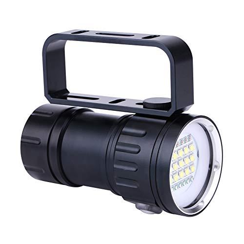 Wandisy Regalo de Julio IPX8 18000lm 500M Linterna de Buceo Profesional, Linterna Impermeable Lámpara Luz Bajo el Agua Campamento al Aire Libre