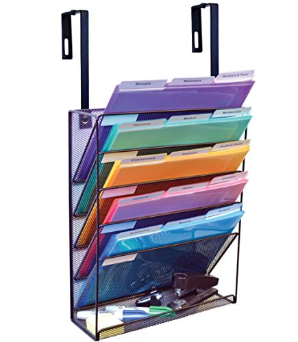 Ultimate Office Mesh Wall File Organizer, 5 Tier Cubicle Partition Hanging File Sorter Rack with Accessory Tray. Includes 18, 3rd Cut PocketFile Clear Document Folder Project Pockets (Black)