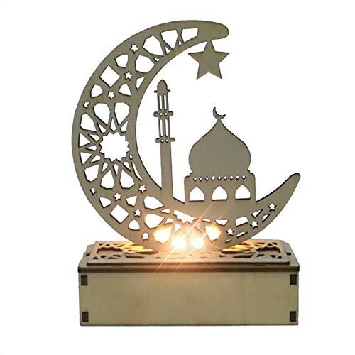 Eid Mubarak Ramadan Lámpara LED de madera, Ramadán, Eid Mubarak Moon Star Islam colgante con luces LED, luz nocturna para el Islam musulmán, decoración esencial para oración Ramadán