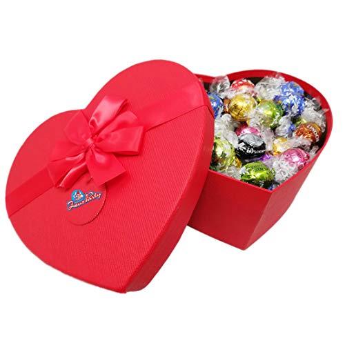 Scatola SAN VALENTINO Rossa A Forma Di Cuore Con 250 Gr Di Cioccolatini Gusti Misti LINDT , Confezione Con Elegante Scatola REGALO Idea Regalo San Valentino