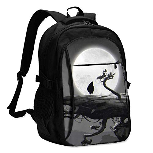 Ori and The Blind Forest Backpack Travel Mochila para portátil con Puerto de Carga USB Interfaz para Auriculares Mochila universitaria para Mujeres Hombres niños Business Travel Anti Theft Backpack