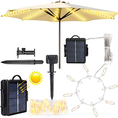 Solar Patio Umbrella Lights,Outdoor Umbrella Lights, Umbrella Lights Solar Powered Waterproof with String Lights for Beach Deck Garden Party Decoration(Warm White)