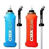 CBX GEAR Botella de Agua Deportiva Estrecha con pajilla 2X 500ml Azul & Rojo Soft Flask para Correr, Running, Senderismo, Escalada | Blanda, Ligera y Fácil de Llenar y Agarrar