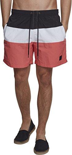 Urban Classics Color Block Swimshorts T-Shirt Anti-UV, Multicolore (Corail/Noir/Blanc 01321), XL Homme