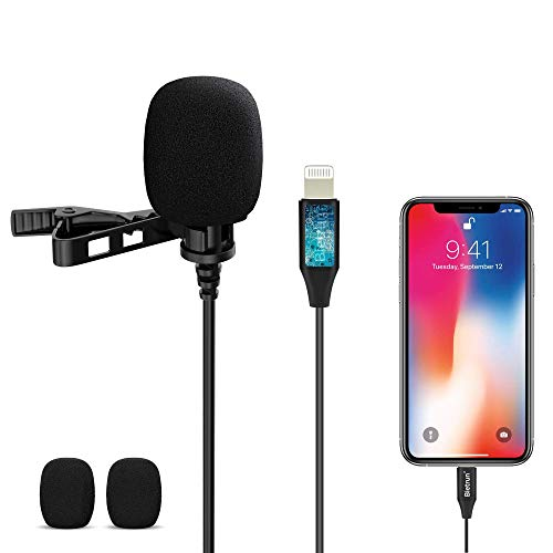Lavalier Lapel Microphone, Professional Omnidirectional Video Microphone for iPhone/iPad, 118'' Easy Clip-on Condenser Microphone for Interview, Studio, Video, Vlogging, No Pop-Up Window, No Damage