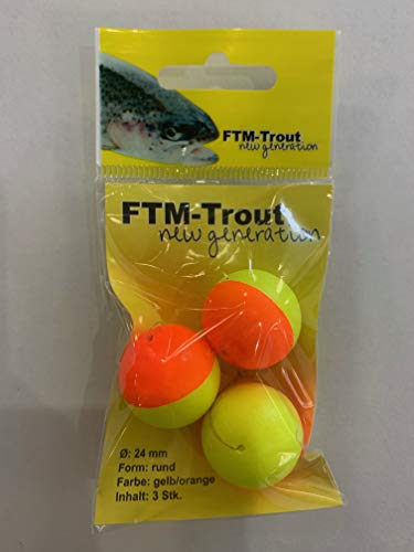 FTM Trout Piloten rund orange/gelb - 3 Pilotposen zum Forellenangeln, Bissanzeiger zum Angeln auf Forellen am Forellensee, Durchmesser:21mm