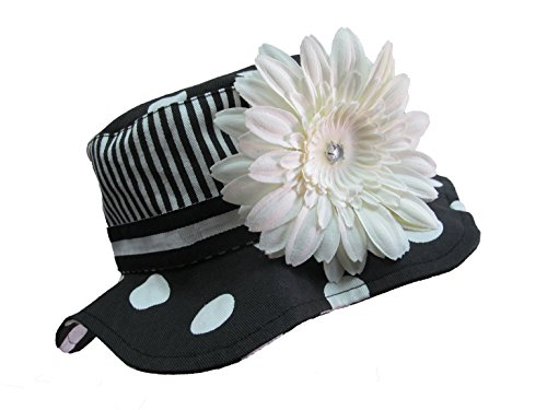 Jamie Rae Hats - Black White Dot Sun Hat with White Daisy, Size: 4-6Y