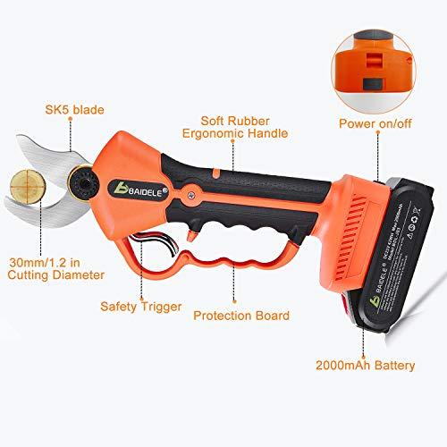 BAIDELE Cesoie Elettriche Professionali Senza Cavo 21V, Diametro di Taglio 30mm, 2PCS Batteria Ricaricabile al Litio 2Ah di Riserva Alimentata a Batteria, 6-8 Ore di Lavoro