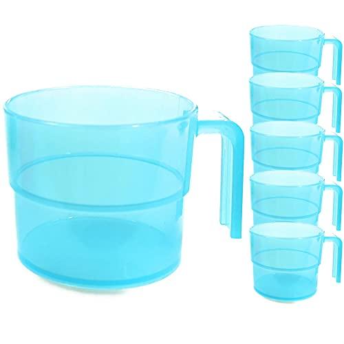 Kerafactum Juego de 6 tazas con asa, taza de café para camping, cantina, ideal para picnic, barco, tienda de campaña, caravana, apilables, 0,3 litros, color azul