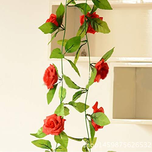 TANG AI MING Simulatie van Rattan kunstbloemen simulatie Champagne Rose Ivy Vine Hangings Slingers for thuis bruiloft decoratie, Lengte: 2,5 m, willekeurige kleur Delivery Huis