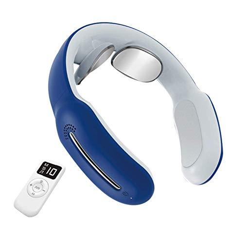 Portátil Massager del cuello, masaje de cuello inalámbrico inteligente con calor, 3 Modos de 15 niveles de tejido profundo masaje de puntos gatillo con control remoto, blanca huangcui ( Color : Blue )