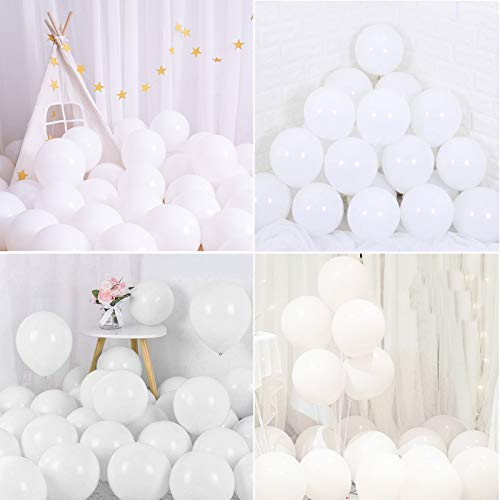 Luftballons Pastell,100 Stücke Latex Farbige Ballons, Ballons Pastell Macaron,Bunt Macaron Luftballoons für Party Dekorative Ballons Hochzeit Weihnachten Geburtstag Party Deko (Weiß)