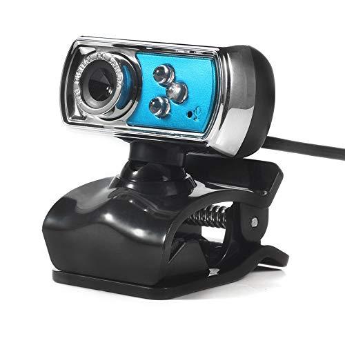 Web Camera HD Webkamera Computer USB Mikrofon Innen LED Nachtsicht Winkel einstellbar Geeignet für Desktop PC Laptop Video Call L blau