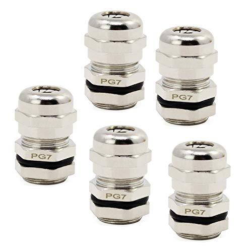 HSEAMALL 5 STÜCKE Metall Kabelverschraubungen,3-6,5mm PG7 wasserdichte Kabelverbinder Kabelverschraubungen Gelenke