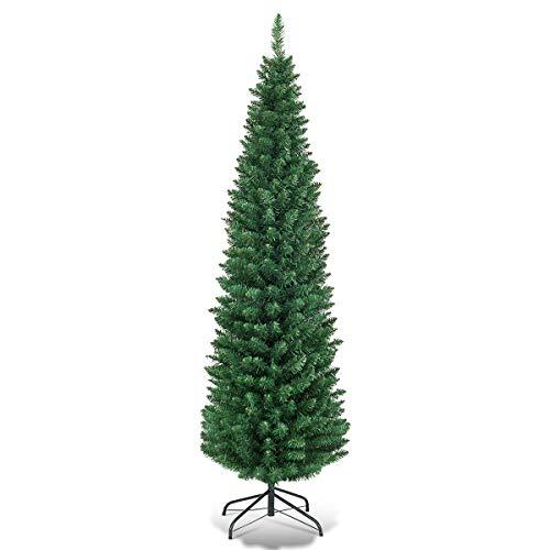 COSTWAY Albero di Natale Artificiale con Supporto in Ferro, Verde, 120 cm   150 cm   180 cm (150 cm)