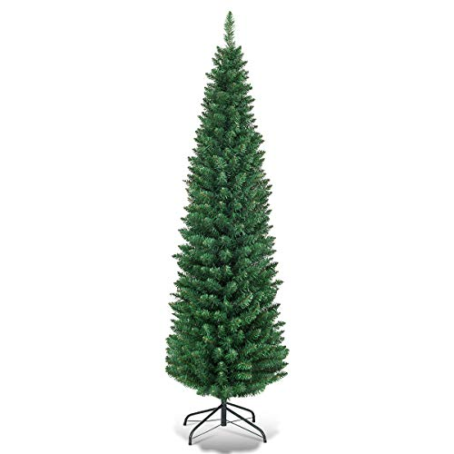 Goplus 5FT Pencil Christmas Tree, 220 Branch Tips, Premium PVC Needles, Artificial Slim Christmas Tree w/Sturdy Metal Stand, Unlit Christmas Tree for Home, Office, Shops, and Hotels