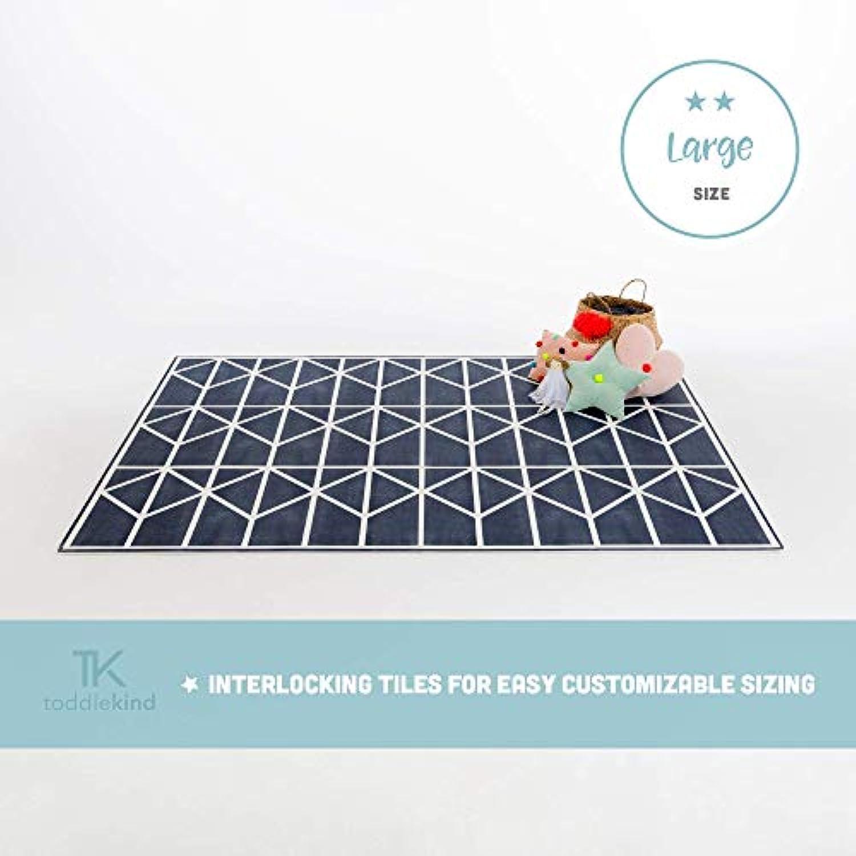 Krabbelmatte von Toddlekind Spielmatte in Premium Qualitt Extra Dicke, Abwischbare Puzzlematte Blau, multifunktional Kinder Spielteppich 0m+