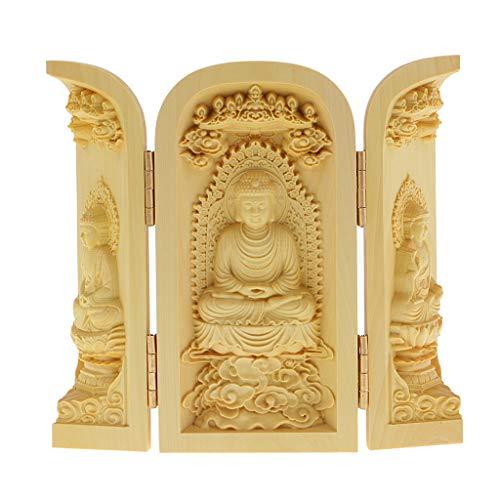 Estatua de Buda Tallado a Mano Armario Caja Escultura Artesanías de Madera de Boj - Estilo-2