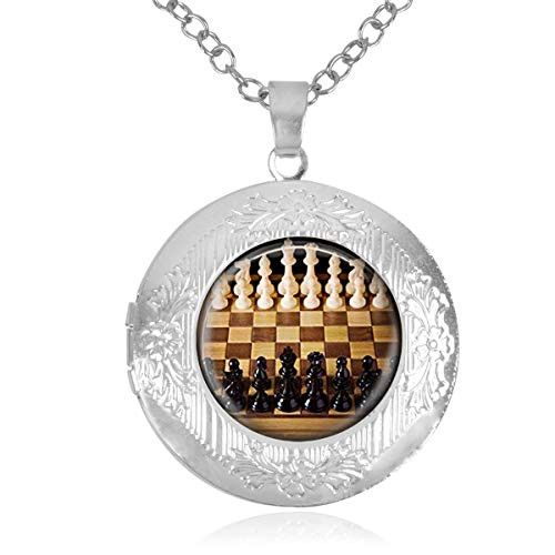Women's Custom Locket Closure Pendant Necklace Chess Game Included Free Chain, Best Gift Set