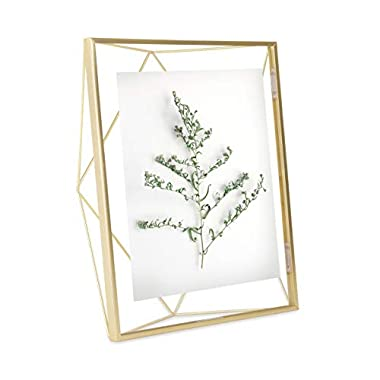 Umbra Prisma 8 x 10 Picture Frame – Floating Wall or Desk Photo Display for Pictures, Art, Illustrations, Graphic Text & More, Metal, Matte Brass