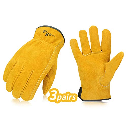 Vgo 3-Pairs Unlined Cowhide Split Leather Work and Driver Gloves, for Heavy Duty, Truck Driving, Warehouse, Gardening, Farm (Size L, Gold, CB9501)