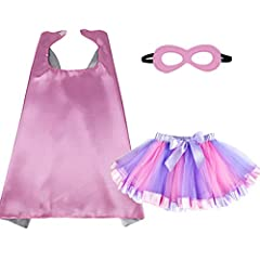 Great for Birthday parties, Princess Cosplay and Wedding dress up Costumes, Have a Superhero Party or make every day a Super Hero Day. Made of 100% Satin; Superhero eyemask: Soft Felt; TUTU Cake Dress: Tulle+Satin. Elastic waist layered rainbow tutu ...