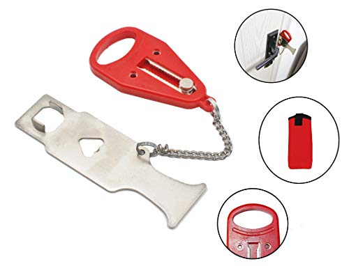 Portable Door Lock Replaces for Addalock Compatible for Travel Lock, AirBNB Lock, School Lockdown Lock Also for Security Home Apartment Living Hotel Motel - red.