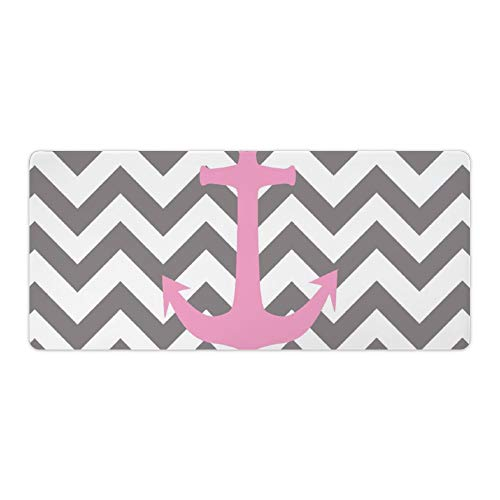 Extended Gaming Mouse Pad with Stitched Edges Waterproof Large Keyboard Mat Non-Slip Rubber Base Monogram Pink Pastel Anchor Gray Chevron Pattern Desk Pad for Gamer Office Home 16x35 Inch