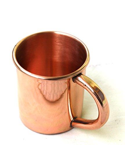 STREET CRAFT 100% Authentic Copper Moscow Mule Smooth Shots Mug Capacity 4 Oz Shots Mug Solid Copper Moscow Mule Straight Plain and Copper Handle Shot Mugs